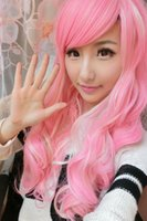 animation track - Oblique Bangs Fluffy Pink And Yellow Gradient Wig Color Cos Animation Aig Harajuku Long Curly Wig WG22 order lt no track