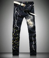 beauty designer pants - Men s Personality Designer Brand Skinny Jeans Stars And Beauty Women Character Printed Pants Y041