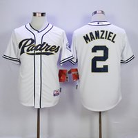 Wholesale Top Quality San Diego Padres Jersey Johnny Manziel Jerseys White Grey Blue Cool Base Stitched Authentic Baseball Jersey Embroidery Logo