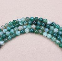 Los granos flojos de envío gratuito raya verde natural Onyx Ágata Ronda Strand 40cm 4 6 8 10 12 14 mm Para resultados de la joyería
