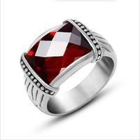 al por mayor piedra preciosa inoxidable-El anillo romántico de la piedra preciosa de la manera de la alta calidad suena la joyería de la boda del acero inoxidable 316L El envío libre ama por siempre el amor R566