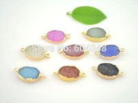 Wholesale 10pcs Mixed Color Slice Agate Druzy Connector Beads x16mm Oval shape Gold Plated Drusy Gem stone Connectors Pendants