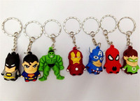 Wholesale 800pcs New arrive Superman Batman Spider Man cartoon anime boy Keychain sided soft toys for kids D209
