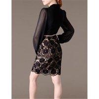 xxxxl - High end Lace Chiffon Dress Brand Quality Belt Plus Size XXXXL XL Vestidos Vintage Bandage Casual Dress Fashion Women Clothing