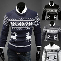 Wholesale 2014Latest men s casual Pullover Winter Christmas deer cotton round neck cardigan dress