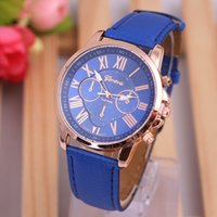 Wholesale GENEVA series of fashion temperament type double literal PU Watch Strap Ladies Watch fashion ladies quartz watch