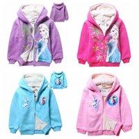 winter coats - Hot Selling Frozen Elsa Anna Zipped Hoodie Jacket Winter outerwear frozen kids winter coats