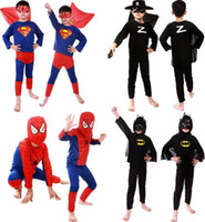 Wholesale Spiderman Superman Batman Zorro Halloween Costume Suits Kits For Kids Children superhero suits spiderman costume set long sleeve