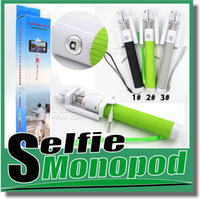 Wholesale selfie Monopod Foldable all in one monopod with groove Cable Take Pole Self Timer Kit Extendable Monopod Handheld Selfie Stick Rod Wired