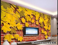 Wholesale Papel de parede brick maple D backdrop window non woven wallpaper new large murals costomize size Free fast shipping h