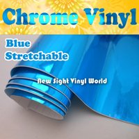 vinyl for car wrapping - Stretchable Glossy Chrome Blue Vinyl Film Chrome Blue Wrap For Car Wrapping Bubble Free Size M Roll