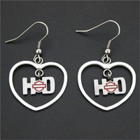 Wholesale 2pairs USA biker style new arrival love heart earrings l stainless steel fashion jewelry awesome lovers motorbiker earrings