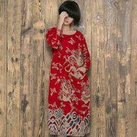 Wholesale Big yards loose literary Chinese wind dragon totem printed retro long cotton and linen robe woman dress