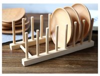 Wholesale Original wood dish plate bowl rack kitchen drain shelf tableware display bookshelf home storage holders organization