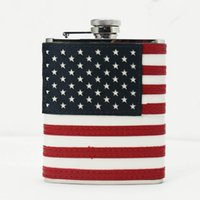american flag flask - American Flag Stainless Steel Leather Wrapped Ounce oz Hip Flask Flagon