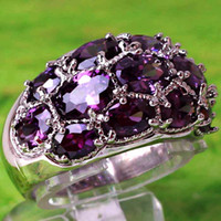 Wholesale Beautiful In Stock Real Image Oval Cut Purple Amethyst Gemstone Ring Silver Rings Size Crystal For Prom Party Wedding Ring A0052