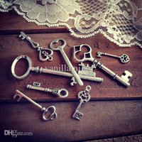 antique victorian necklaces - mix styles Skeleton Key ANTIQUE SILVER bronze Key Charm Victorian Vintage Style pendant lead free