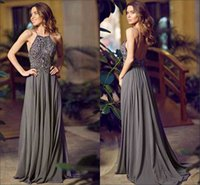 Wholesale New Arrival Sexy Halter Neckline Sleeveless Long Evening Dress Beaded Chiffon Grey A line Sweep Train Backless Prom Party Dresses Gowns