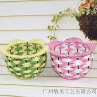 iron wicker rattan - Factory direct handmade wicker baskets wrought iron decorative home floor vase rattan baskets supply
