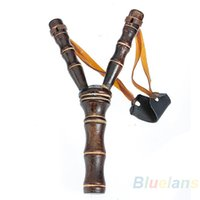 Wholesale Bamboo Style Wood Wooden Sling Shot Toys Slingshot Bow Catapult Hunting NG
