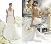 Wholesale Fashionable Designer New Thin Straps Appliques Lace Mermaid Backless Wedding Dresses Bridal Gown Robbin Beading Chapel Train