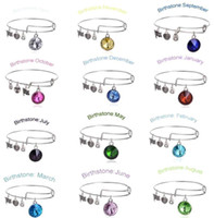 Wholesale 2015 New Birthstone Crystal Pendant of Months Birthstone Alex and Ani Charm Wiring Bracelet expandable bangles CPA289