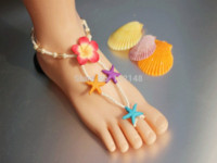 beach bridesmaid gifts - New starfish female foot jewelry beach theme toe ring anklets barefoot sandals chain bridesmaid gifts LK SP