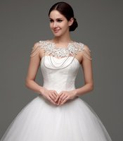 beads shawl - Elegant Wedding Bolero With Lace Appliques Crystals Beads Cheap Bridal Accessories Hot Sale Shoulder Chain In Stock Wedding Wraps Shawl