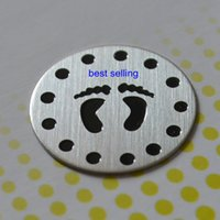 Wholesale 20pcs Large baby foot Stainless Steel Living Locket Plate fit mm floating lockets designs for your choice