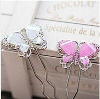 weathervane - Imitation alloy hair accessories diamond Korean sweet lady butterfly hairpin resin weathervane JW41