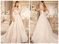 Cheap A Line Wedding Dresses 2015 Tulle Sweetheart Sleeveless Beaded Belt Lace Appliques Covered Button Bridal Gowns Chapel Train Demetrios 1479