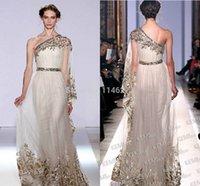 Cheap New Arrival Elegant Sash Applique Scalloped Floor Sleeve A Line Gold Chiffon One Shoulder Elie Saab Evening Dress