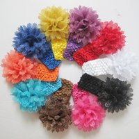 elastic crochet - baby knitting headbands flowers silver wire flowr with elastic crochet hairband