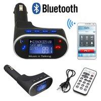 Wholesale Bluetooth Handsfree Car Kit MP3 Music Player Wireless FM Transmitter Radio Modulator USB SD MMC Remote Control for iPhone LG HTC
