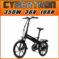 Wholesale Addmotor CYBERTRON Electric Bike C350 Platinum Black Folding Stelth Battery Luggage Rack E bike W V AH quot Electric Bicycle