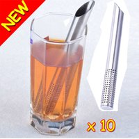 tea ball strainer - New Novelty Filter Tea Balls Stainless Steel Tea Strainers Oblique Tea Stick Tube Tea Infuser Steeper GIFT Hot Promotion
