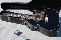Wholesale OEM handmade jumbo cutaway BK color acoustic guitar low price good sound guitars