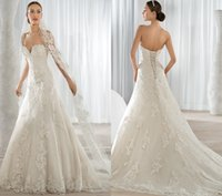 Cheap Demetrios Ivory A Line Wedding Dresses Sweetheart Sleeveless Beaded Court Train KR 2016 Lace Appliques Sexy Bridal Gowns Lace Up Back 620