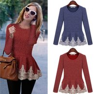 shirt puff sleeve - Fashion Lady Knits Tees Long Sleeve Spring Fall Lace T shirts Woman Yarn Slim Puff Tee Women Tops Tshirts Red Blue D4146