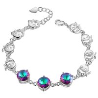Wholesale 925 Sterling Silver Plated Jewelry Bracelet mosaic qicaishi jewelry popular spot
