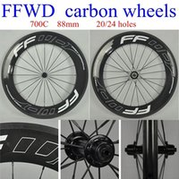Wholesale 2014 FFWD carbon wheels mm Black color white decals gloosy finish bicycle wheelsets C full carbon bike wheel black spokes hole