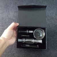 black gift boxes - 10mm black mini Nectar collector full kit with Titanium Quartz Nail Dabber Dish Mini Glass Bong mm joint Smooth Hit