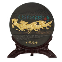 antique wood horse - Horse Round Antique Activated Carbon Carving Creative Home Furnishing Living Room Decoration Interior Celebration Craft