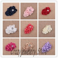 Wholesale 30pcs Frilly Chiffon Flowers For Baby Headbands Girls Head Flower Hair Accessories Fabric Frilly Rose Flower With Acrylic Rhinestone color