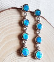Wholesale Attractive Long Blue Fire Opal Dangle Earring For Lady s Gift