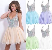 Wholesale 2016 Cocktail Party Dresses Cheap Homecoming Dresses Sexy Deep V Neck Organza Crystal Beads Bodice Short Party Gowns Prom