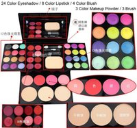 ad easy - ADS Color Eye shadow Lipstick Blusher Makeup Powder Puff Brush Pen Tool Make Up Kit Set