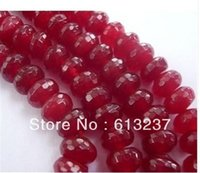 "Bead Caps Fashion Beads Wholesale-free Shipping 2014 Fashion Natural 5x8mm Faceted Red Ruby Roundel Loose Beads Jasper 15"" MY4326 beads jewelry making"