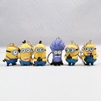 Wholesale 6pcs set Despicable Me Minion Keychain Set Cartoon Mini Action Figure D Minions Toys Kids X mas Gift by DHL
