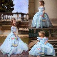 Cheap Retail Newest 2015 girls cinderella dress princess cinderella blue dress girls long formal dresses party dress full-length skirt S219M